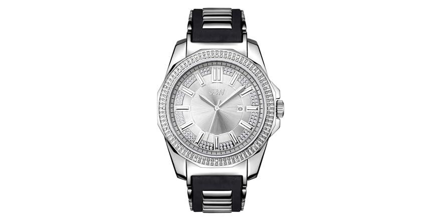 JBW Men's Regal J6332 Plated Silcone Diamond Watch