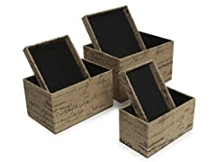 French Burlap Stacking Box Set