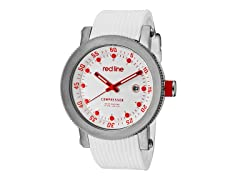 Red/White Dial with White Silicone Band