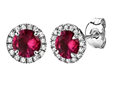 SS Created Ruby & Created White Sapphire Halo Stud Earrings