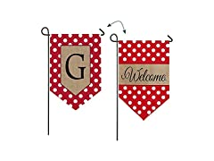 Polka-Dot Welcome Garden Flag, Letter G