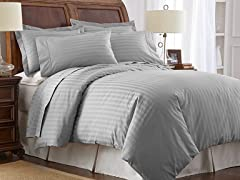 500TC Cotton Duvet Cover Set-Grey-2 Sizes