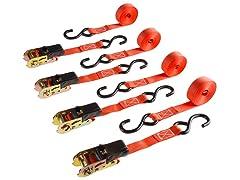 4 Pack Ratchet Tie Down Straps - 15 Ft. - 500 Lb Load