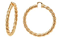 Gold Textured Twisted Hoop Earring