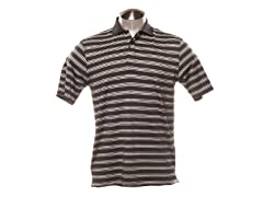 Jacquard Striped Polo - Black/Grey/White