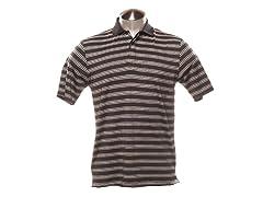 Jacquard Striped Polo - Black/Grey/White