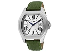 a_line Adore Silver Dial, Green Textured Band