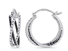 0.25cttw Black Diamond Hoop Earrings