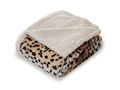 Fleece Sherpa Blanket Throw - Tiger