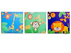 Blue Jungle Canvas Print- Set of 3