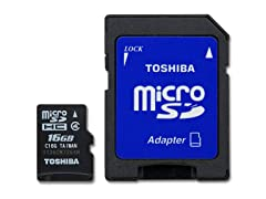 16GB Class4 microSD Card w/SD Adapter