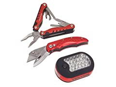 LED, Knife and Multi-Tool Set, 3-Piece