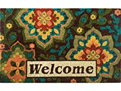 Welcome Medallion Weather-Resistant Outdoor Coir Doormat
