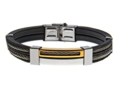 14k Gold Plated Black Rubber Double Wire