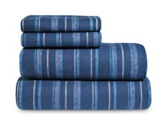 Mini Blue Stripe Flannel Sheet Set-3 Sizes