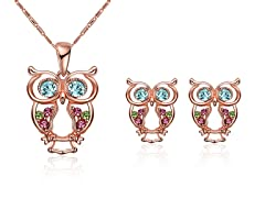 18K Gold Plated Owl Set