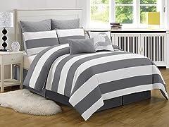 Delia Stripe Printed Comforter Set-Queen