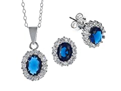Sterling Silver Oval Blue CZ Set