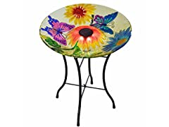 Outdoor 18-Inch Butterfly Fusion Glass Solar Bird Bath w/ Stand