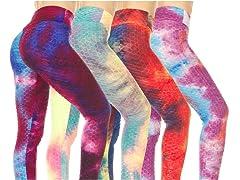 Nextex Women's TieDye Ruched Leggings 3P