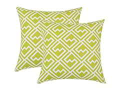 Shakes Artistic Green 17x17 Pillows-S/2