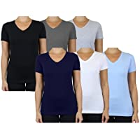 6-Pack Galaxy by Harvic Women's Short Sleeve V-Neck Tee