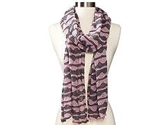 Anne Klein Scallop Stripe Neckwrap, Purple/Gray
