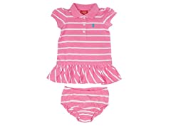 Pink Striped Polo Dress (12M, 2T)