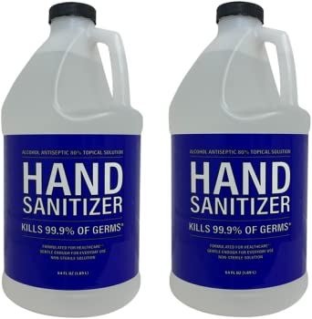 2-Pack 80% Alcohol Antiseptic Hand Sanitizer, 64oz.