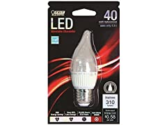 LED Dimmable, Chandelier Flame Tip Bulb (6-pack)