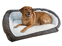 Serta Memory Foam Lounge Bolster Pet Bed-Grey-Medium
