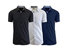 Men's Short Sleeve Solid Dress Shirt 3Pk