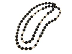 Pearl, Onyx and 14k Gold Bead Necklace