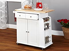 Sonoma Kitchen Cart  White/Natural