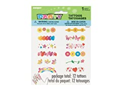 Flowers & Hearts Finger Tattoos, Assorted 12Ct