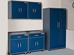 (1) Tall, (2) Base, and (2) Wall Steel Cabinet Set