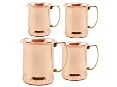 "17 Oz. Solid Copper ""Sui Generis"" Moscow Mule Mugs , Set of 4"