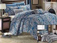 8-Piece Reversible Comforter Set - King