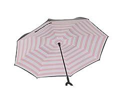 Reverse Opening Umbrella, Pink Stripe