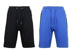 Mens Jogger Shorts w Zipper Side Pkt 2P
