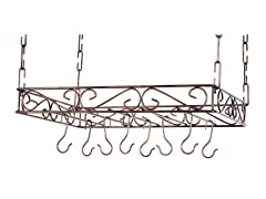 Scrolled Iron Pot Rack- Bronze