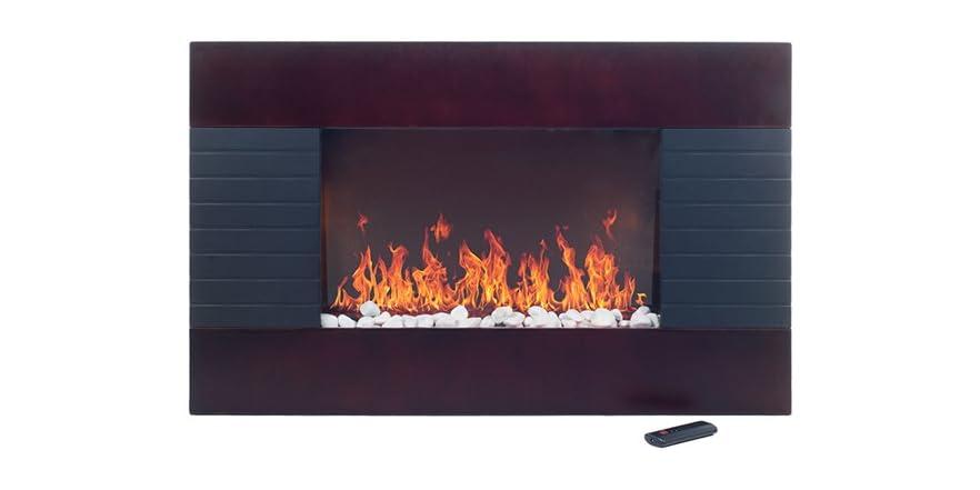 Even Glow Mahogany Wood Trim Electric Fireplace Heater