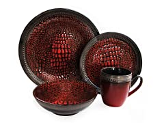 Serrano 16Pc Dinnerware Set-Red