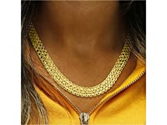 Gold 4-Row Chain Link Necklace
