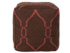 Red Trimmed Pouf