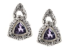 18kt Gold Trillion Amethyst Earrings