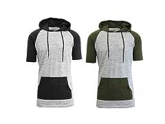 Mens Short Sleeve Henley Hoodie- 2 Pack