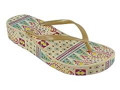 MUK LUKS ® Wedge Flip Flops, Ivory
