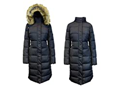 Womens Long Heavy Parka W/ Faux Fur Hood