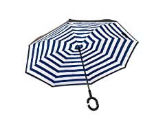 Reverse Opening Umbrella, Blue Pin Stripe